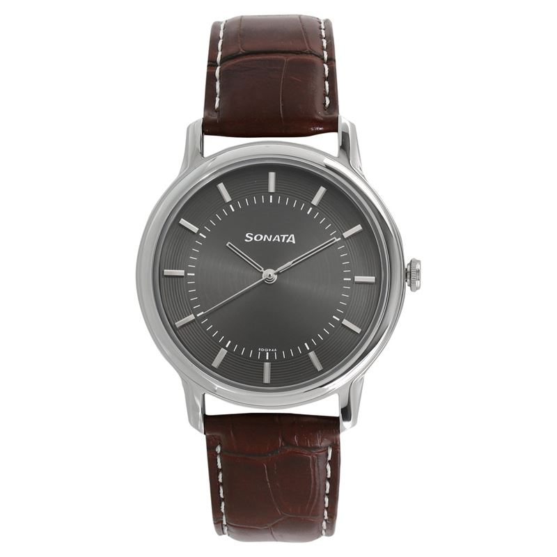 Sonata Sleek Black Dial Analog Watch for Men - 7128SL02