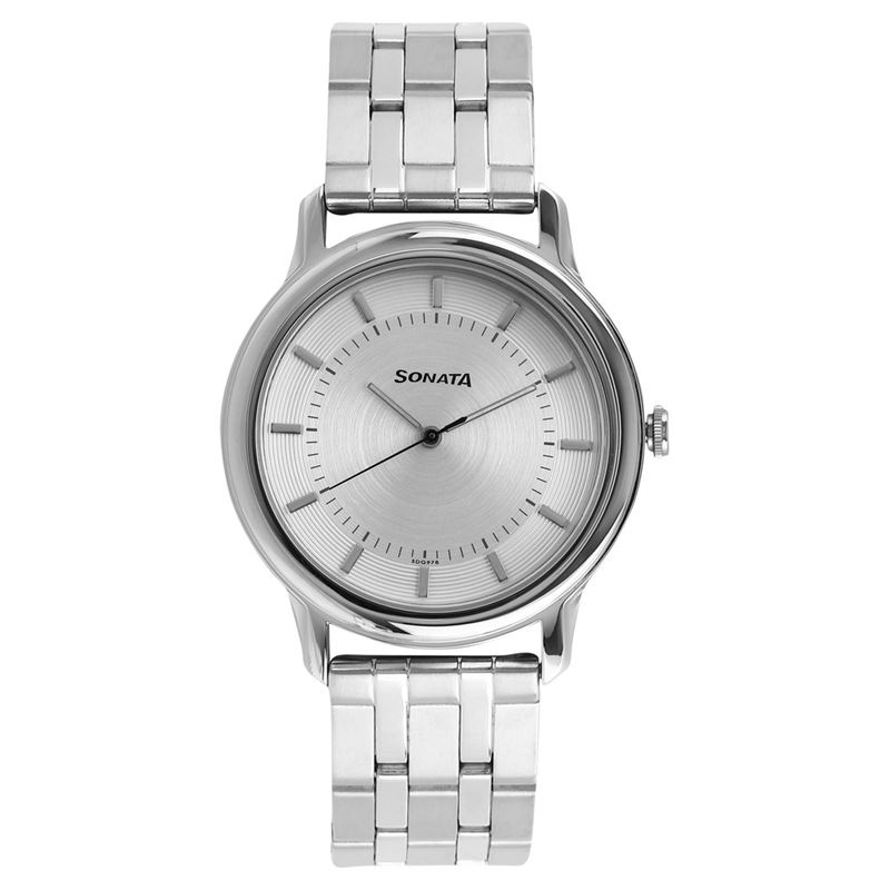 Sonata Sleek Silver Dial Analog Watch for Men - 7128SM01
