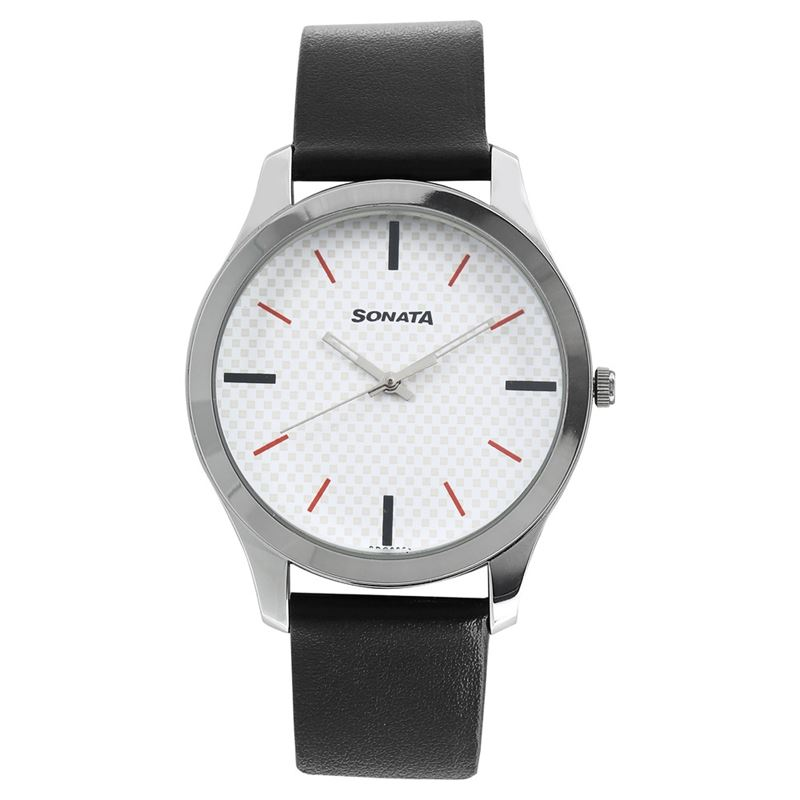 White Dial Leather Strap Watch - 77063SL04