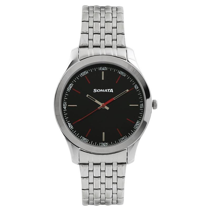 Sonata Analog Silver Dial Men's Watch-77063SM04