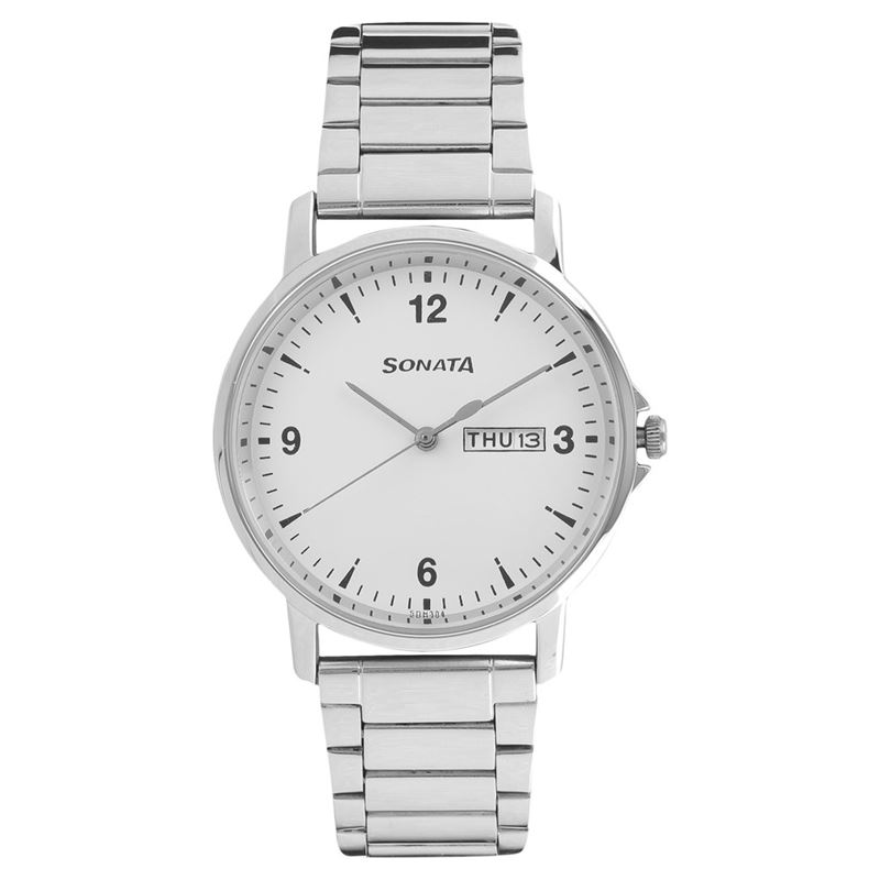 Sonata White Dial Analog Watch for Men - 77083SM01