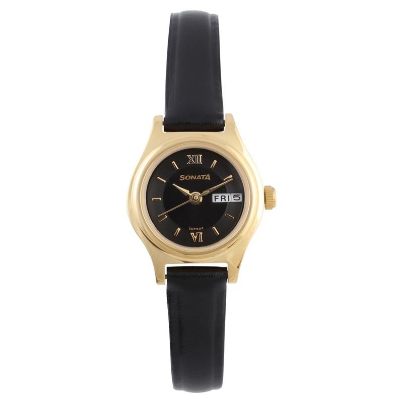Sonata Black Dial Analog Watch for Women - 8021YL05