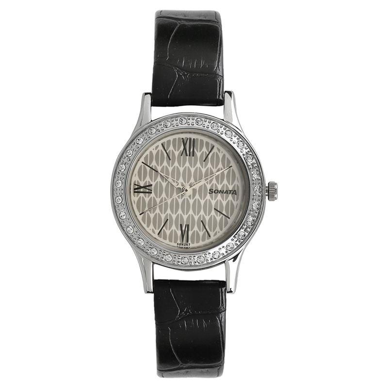 Sonata Stardust White Dial Analog Watch for Women - 8123SL03