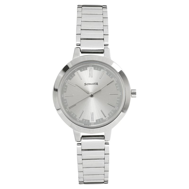 Sonata Steel Daisies Silver Dial Analog for Women - 8141SM02