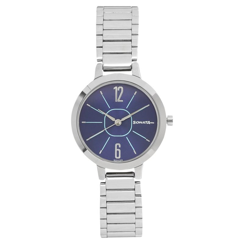 Sonata Steel Daisies Blue Dial Analog for Women - 8141SM03