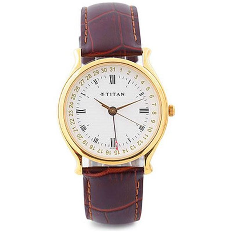 Titan Classique Analog White Dial Men's Watch - 1482YL05