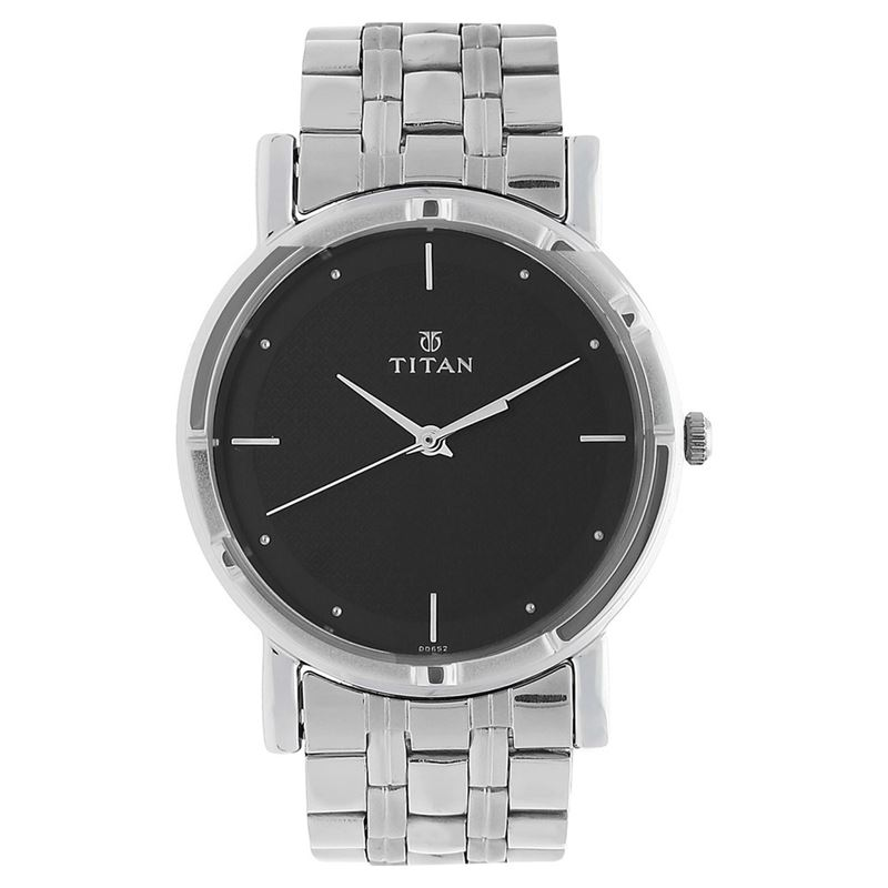 Titan Silver and Black Analog Watch - 1639SM02