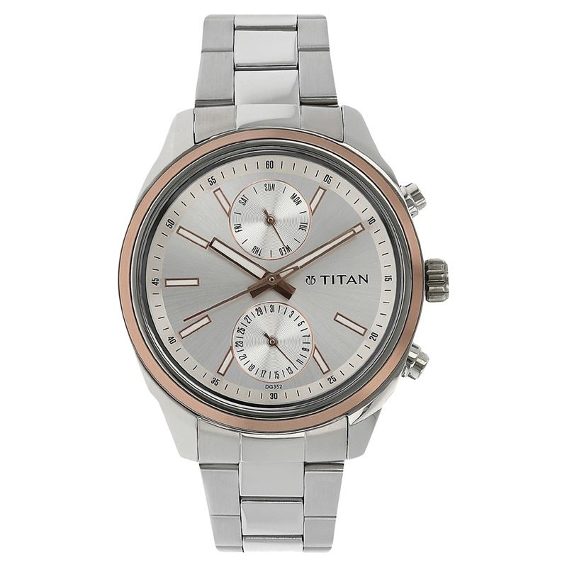 Titan Silver Dial Multifunction Watch for Men - 1733KM02