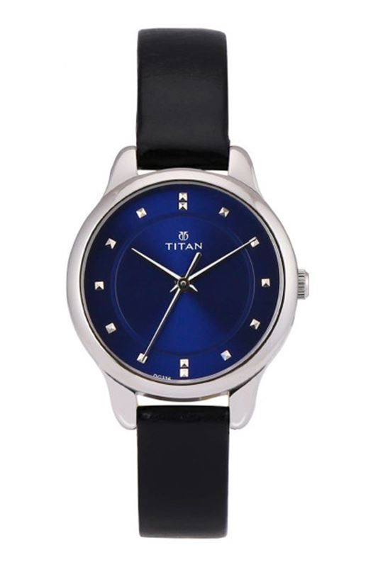 Blue Dial Leather Strap Watch - 2481SL08