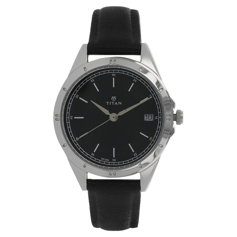 Black Dial Leather Strap Watch - 2556SL02