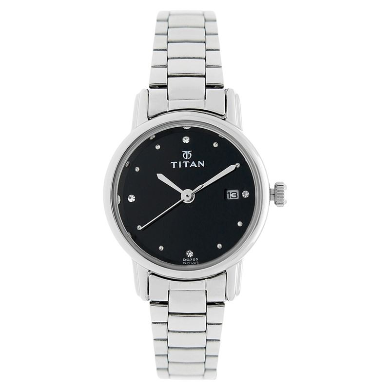 Titan Black Dial Analog with Date - 2572SM02