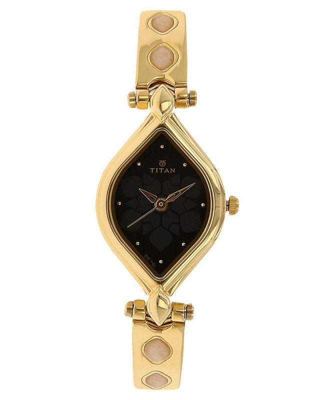 Titan Golden and Black Analog Watch - 9639YM10