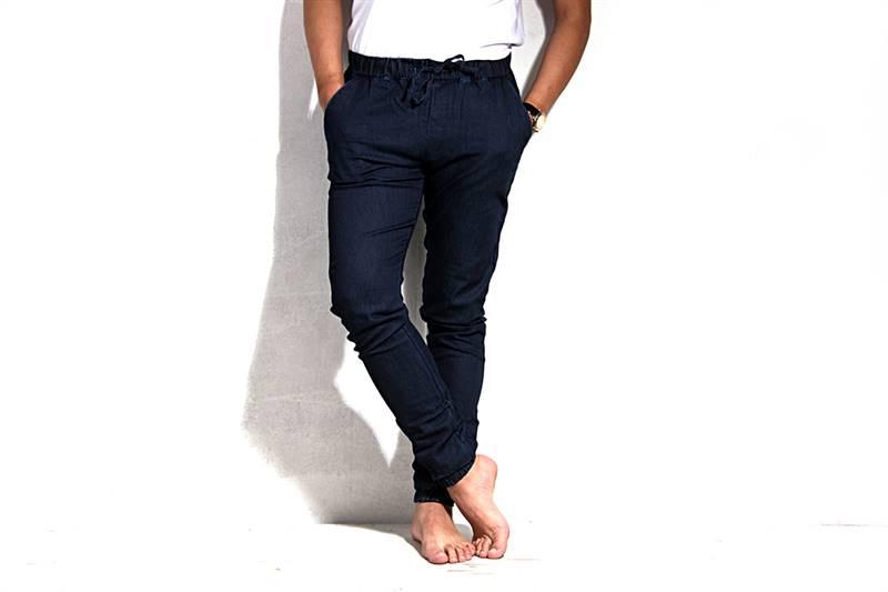 Mens Dark Blue Cotton Pants - IS026