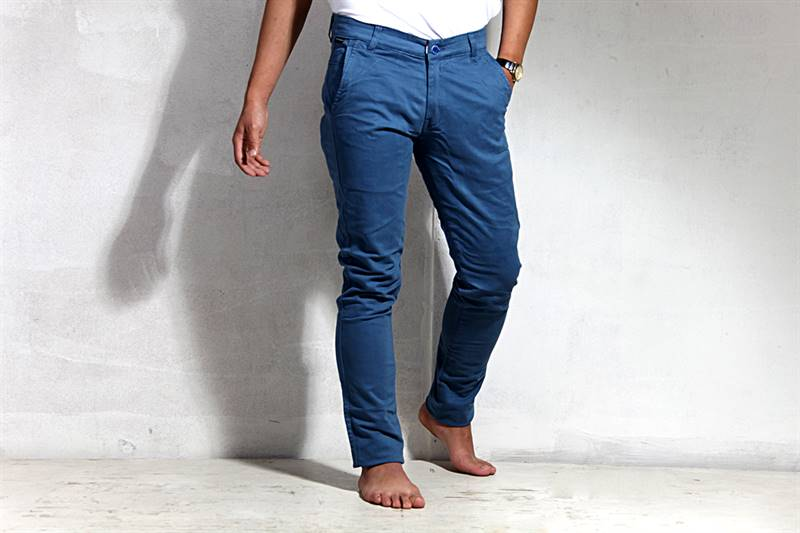 Mens Blue Cotton Pants - IS024