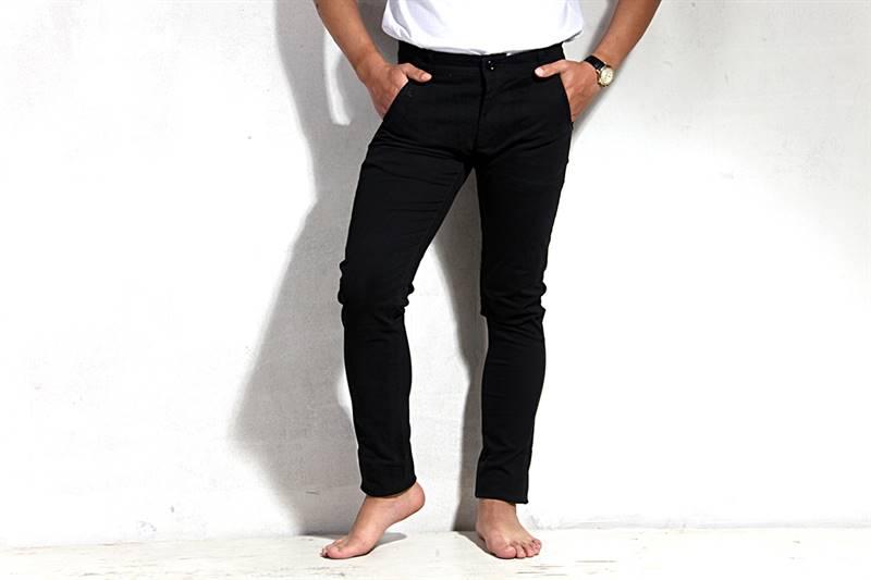 Mens Black Cotton Pants - IS019