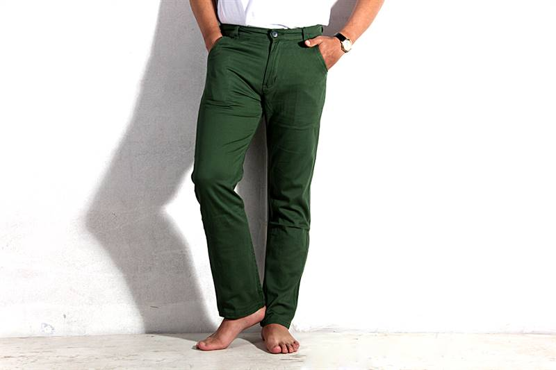 Mens Crocodile Green Cotton Pants - IS011