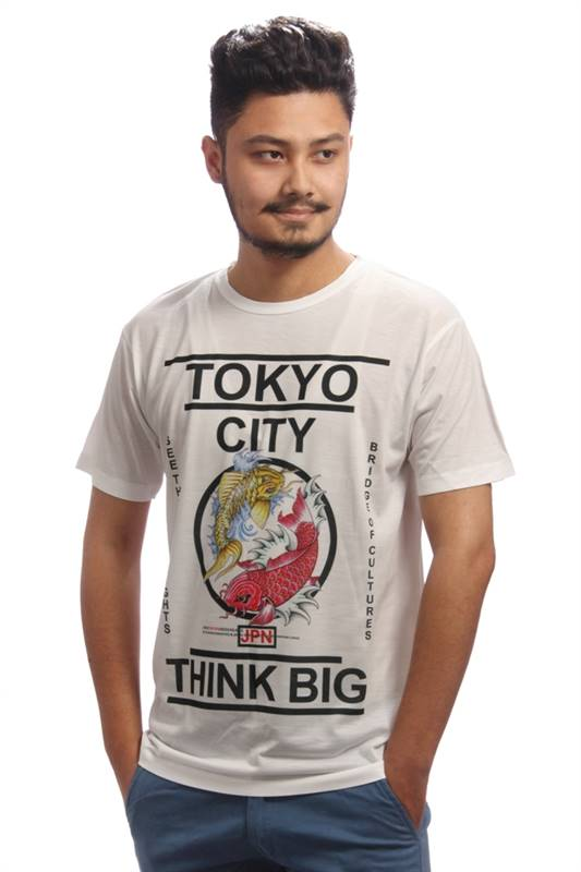 Tokyo City Think Big Printed White T-shirt