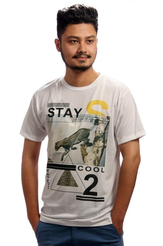 Stay Cool Printed White T-Shirt