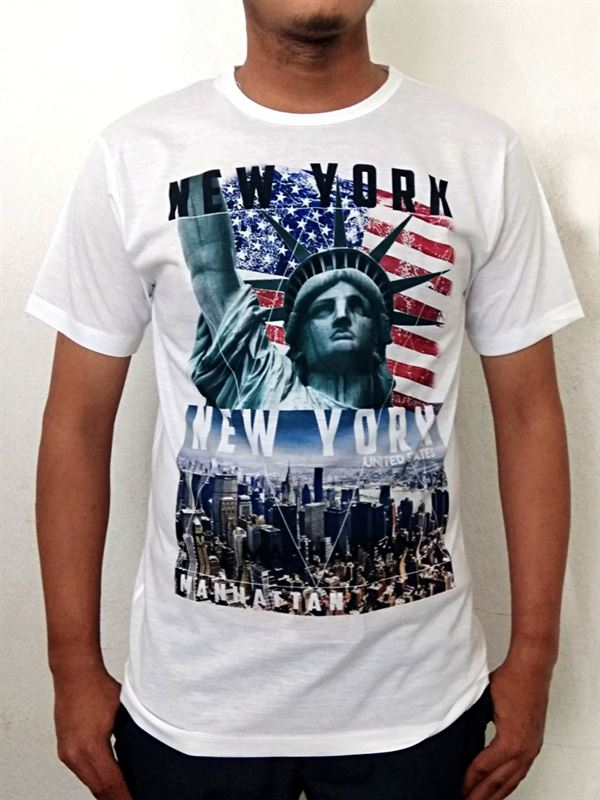 New York Printed White T-Shirt (Size M)