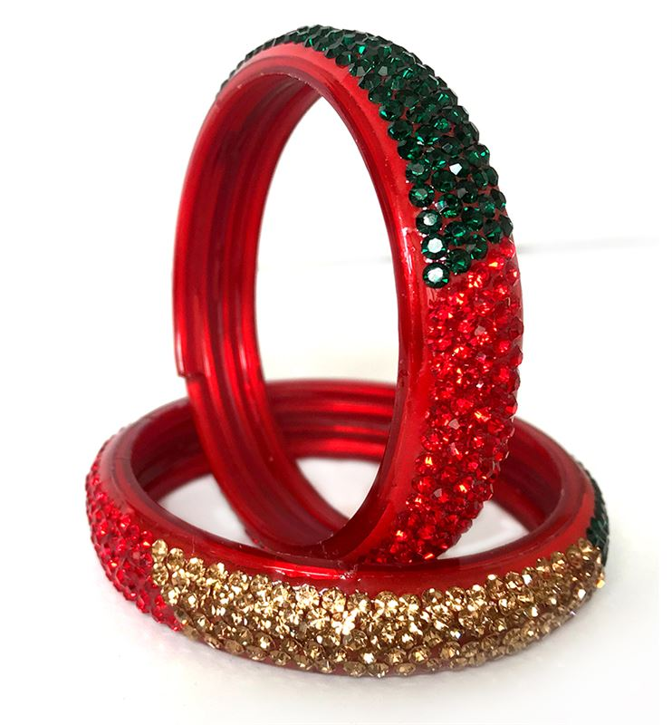 Red Bangle with Green & Golden Crystals