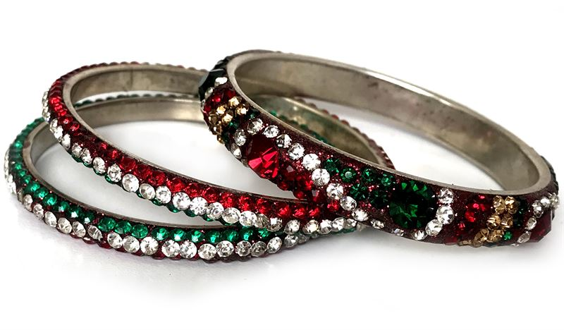 Metal Bangles with Crystals 2