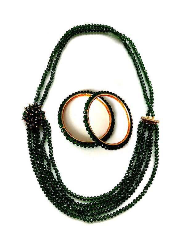 Dark Green Multi Layer Potey Necklace with Potey Bangles