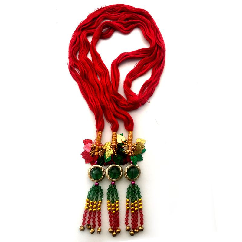 Red Chulthi with Red, Golden and Green Tassels
