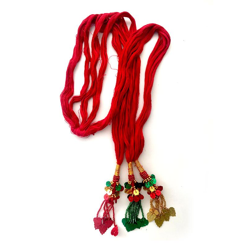 Red Chulthi with Heart Shaped Tassels