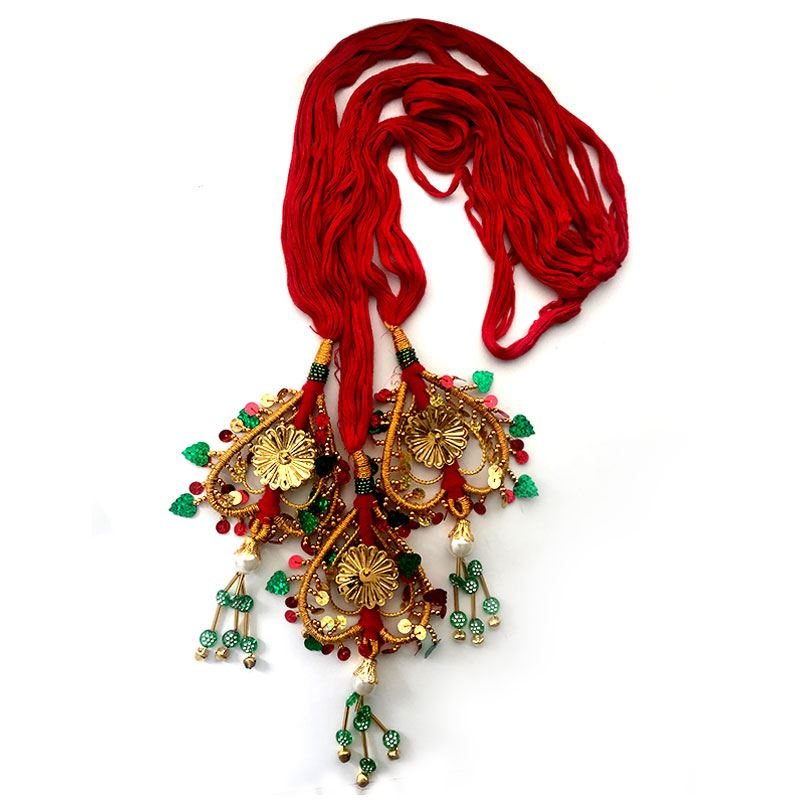 Red Chulthi with Big Golden Heart Shaped Tassels
