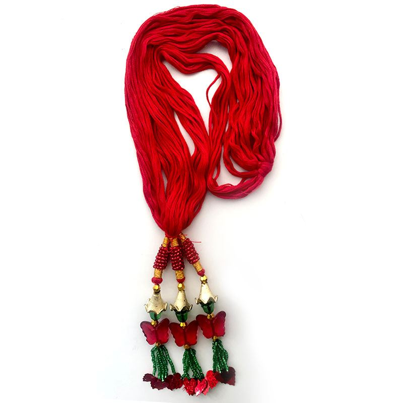 Red Chulthi with Butterfly Shaped Tassels