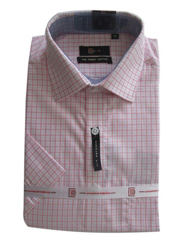CEO Men's Pink Checkered Shirt (Half Sleeves)