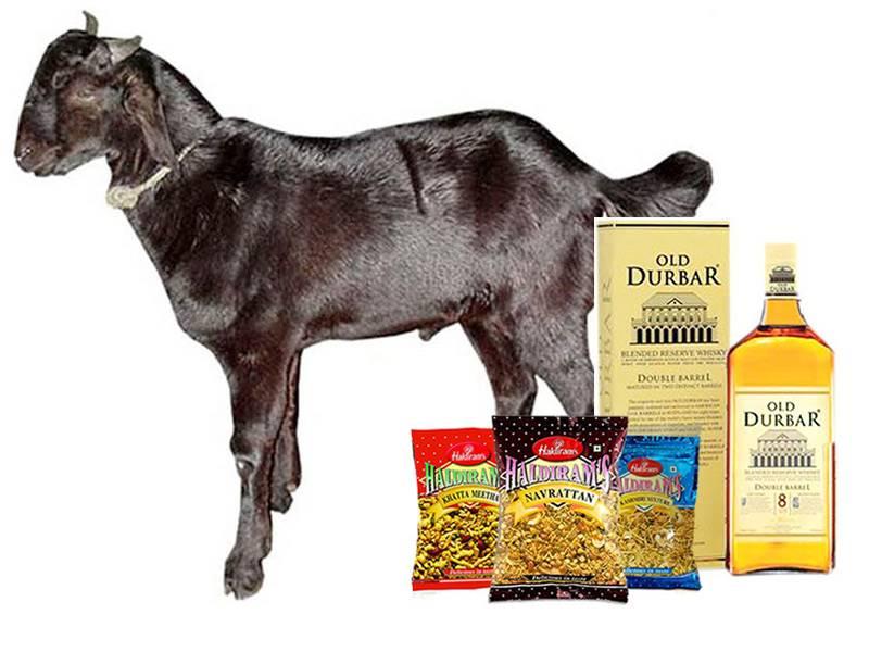 Dashain Khasi (20kg) with Old Durbar and 3 Haldiram Snack Items