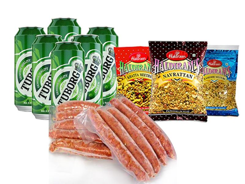 Tuborg (6 cans) with Chicken Sausage (800 gm) and 3 Haldiram Snack Items