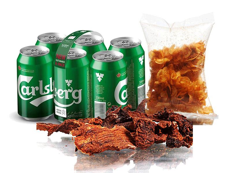 Carlsberg (6 cans) with Dry Meat (500 gm) and Local Chips (250 gm)