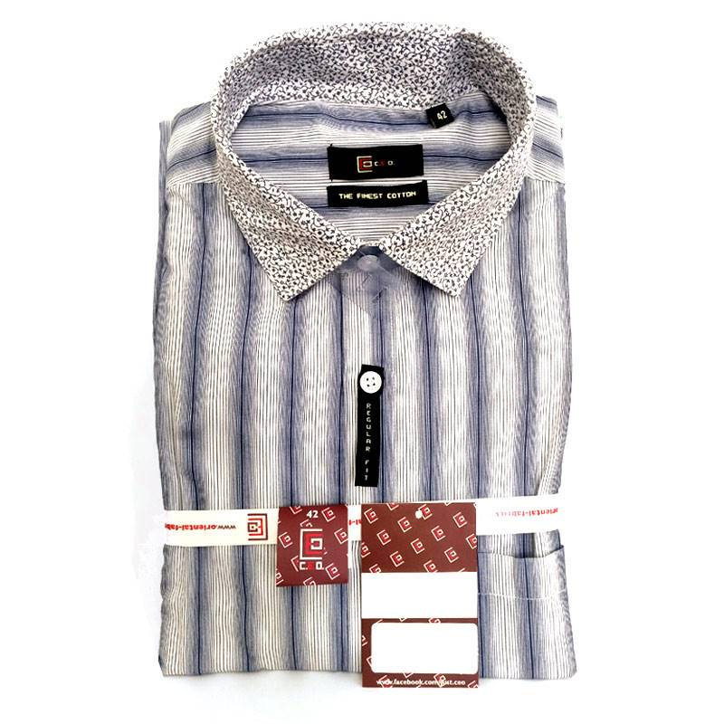 CEO Men's Blue and White Striped Shirt