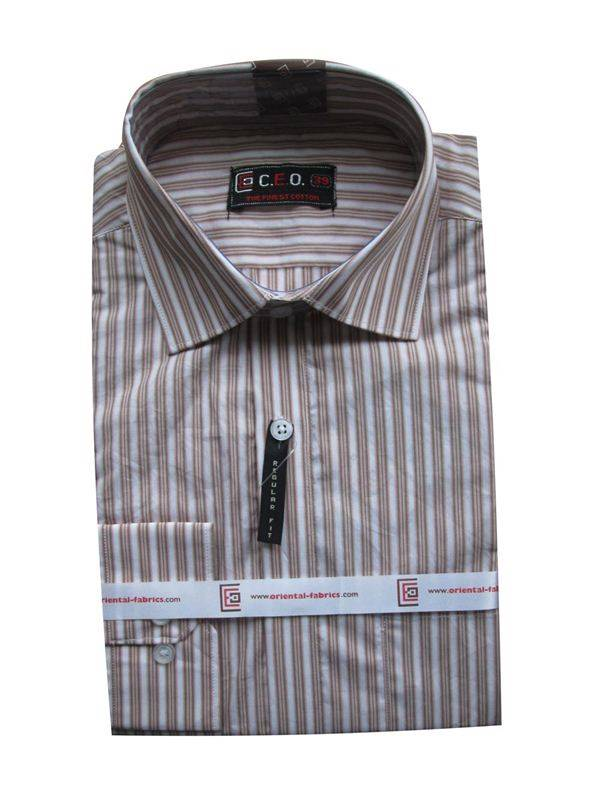 CEO Men's Light Brown Stipes Shirt