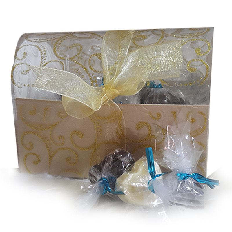 Round Golden Box (20 Pcs) by Chocolates with Love
