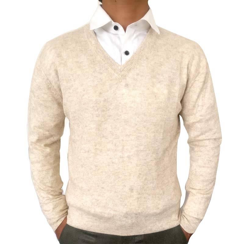 Cream Wool-blend Men's Sweater (Cashmere blend)