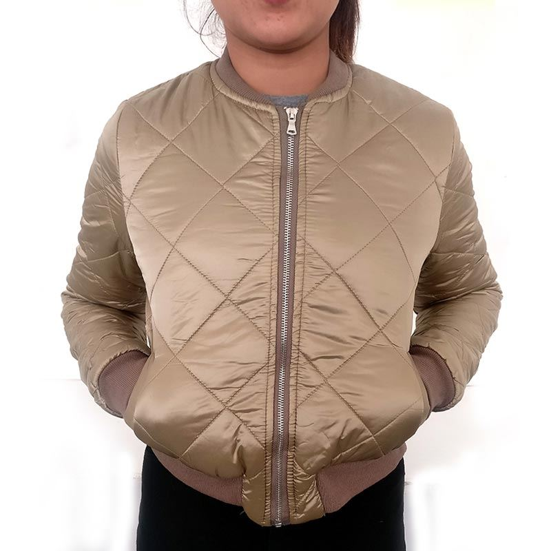 Brown Classic Velvet Quilted  Women's Bomber Jacket