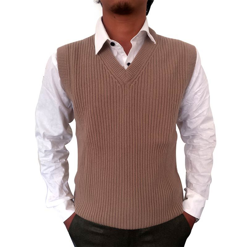 Mens Brown Sleeveless  Sweater Pattern