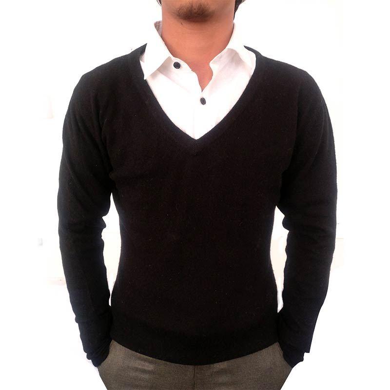 Black Wool-blend Mens Sweater (Cashmere blend)