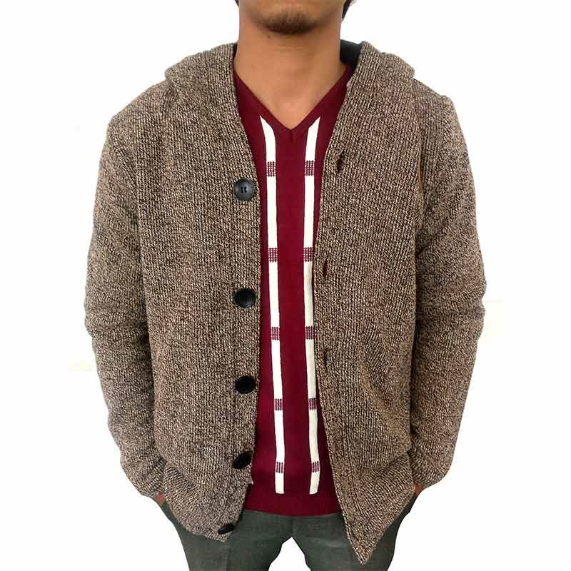 Mens Cardigan Hooded Sweater