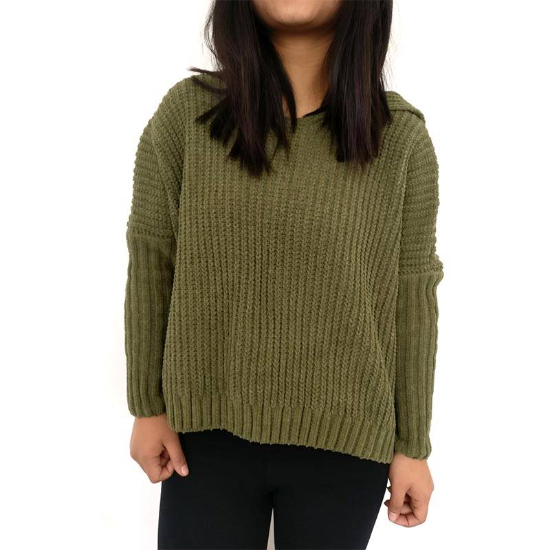 Green Textured Women's Sweater