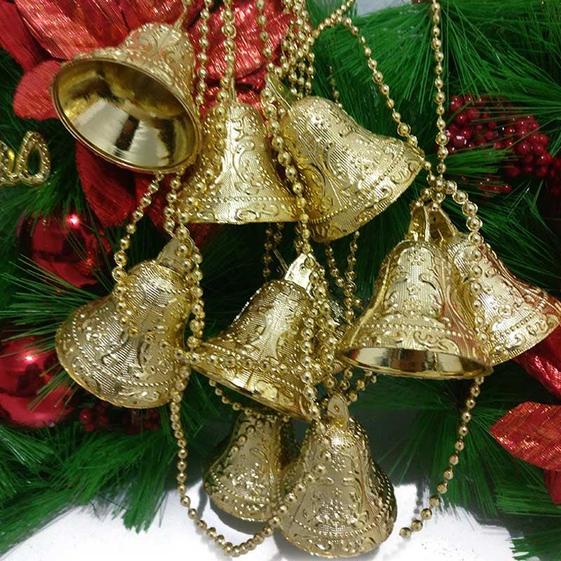 Gold Plastic Jingle Bell Decorations