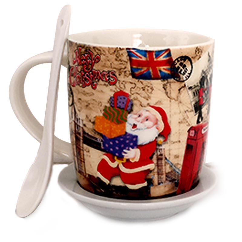 Red Santa Ceramic Mug with Spoon