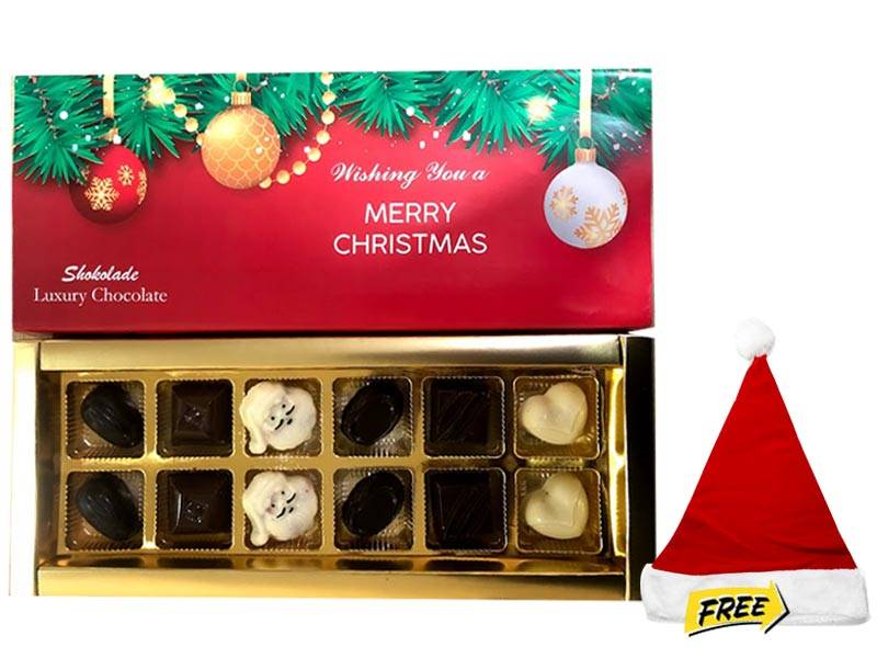 Shokolodes Christmas Chocolate with Free Santa Cap