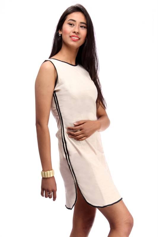 Bella Jones Linen Cream Dress with Contrast Piping (SA036)