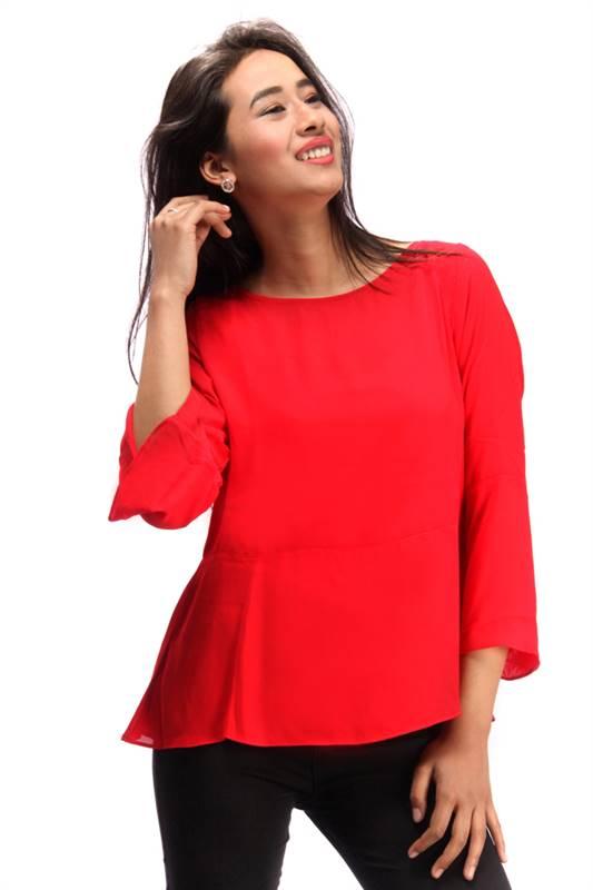 Bella Jones Red Full Sleeve Blouse (SA012)