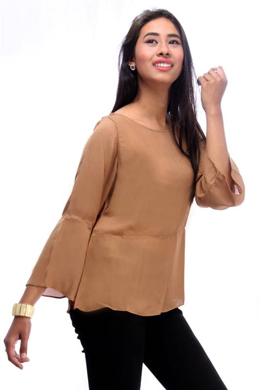 Bella Jones Brown Full Sleeve Blouse (SA012)
