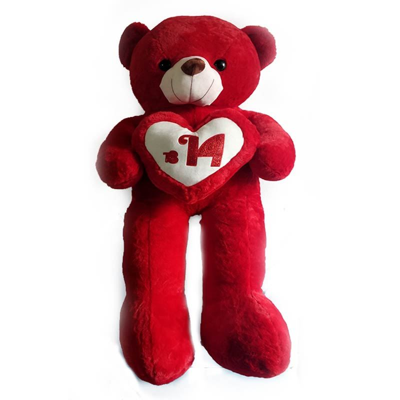 Red Teddy with Heart (54 inches)